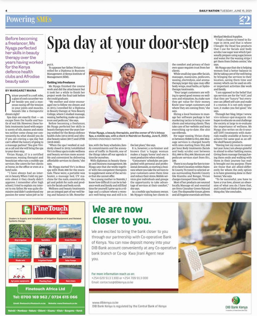 Viv's in-Houz Spa Feature on Daily Nation